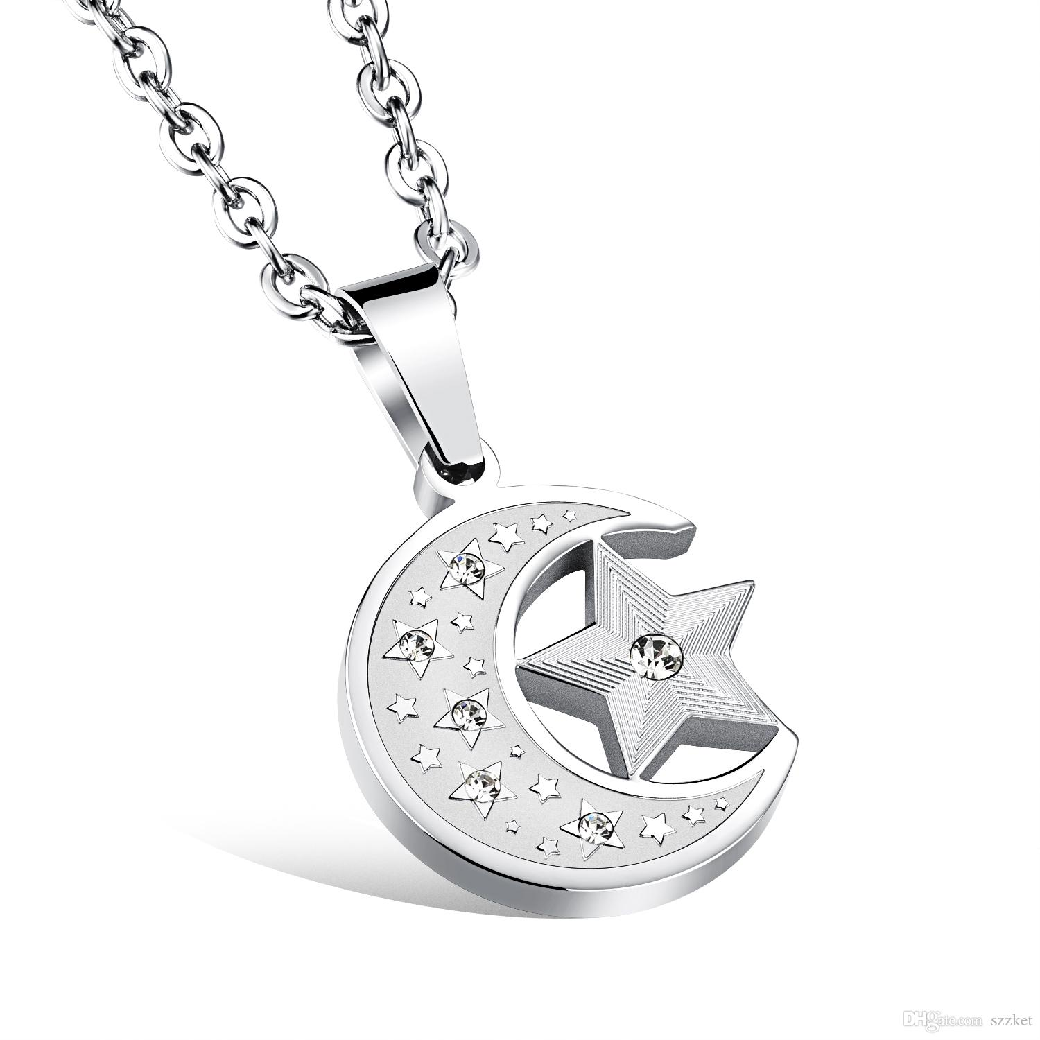 Star and Moon Combination Necklace Pentagram Star Men and Women Pendant Titanium Steel Fine Necklace 3-GX1078
