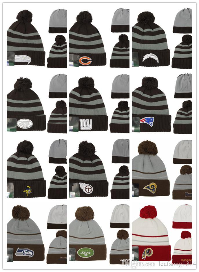 8e94d2517cab2 2019 2019 New Arrival Beanies Hats American Football 32 Teams Beanies  Sports Winter Knit Caps Beanie Skullies Knitted Hats Free Drop Shippping  From ...