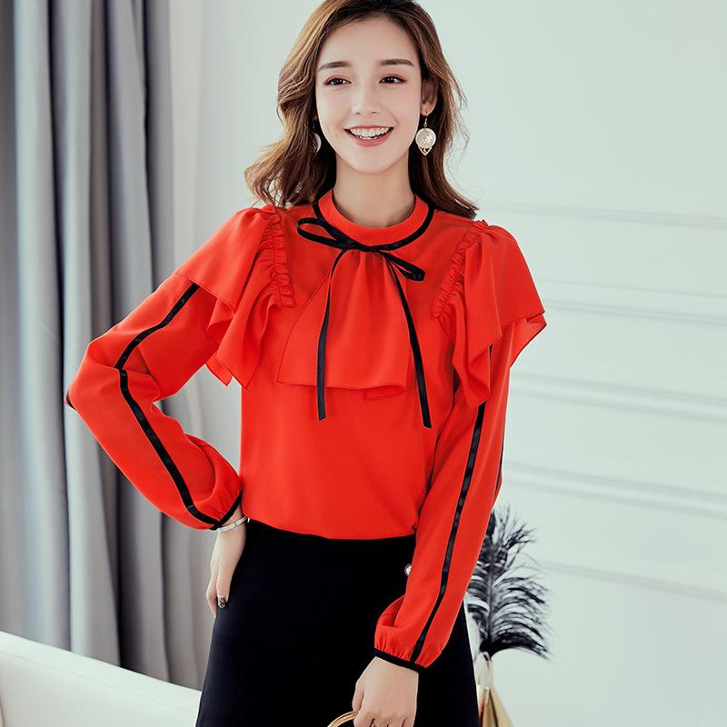 8c3799feb5c6 2019 Korean Long Sleeve Chiffon Blouse Women 2019 New Fashion Spring Autumn  Office Lady Clothing Plus Size Casual Cute Shirt Female From Xisibeauty