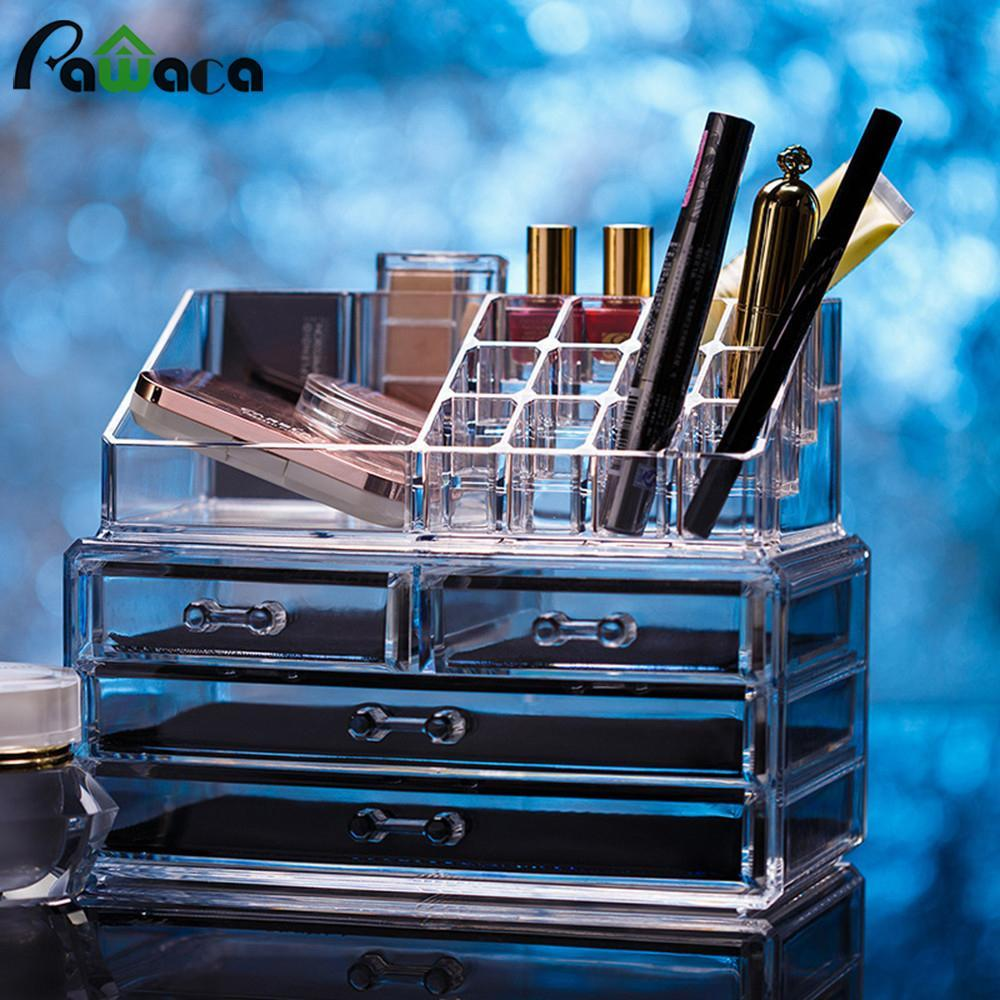 Wholesale- Acrylic Cosmetic 4 Drawer Type Storage Box Set Clear Makeup Jewelry Organizer Drawers For Make Up Lipstick Holder Display Stand