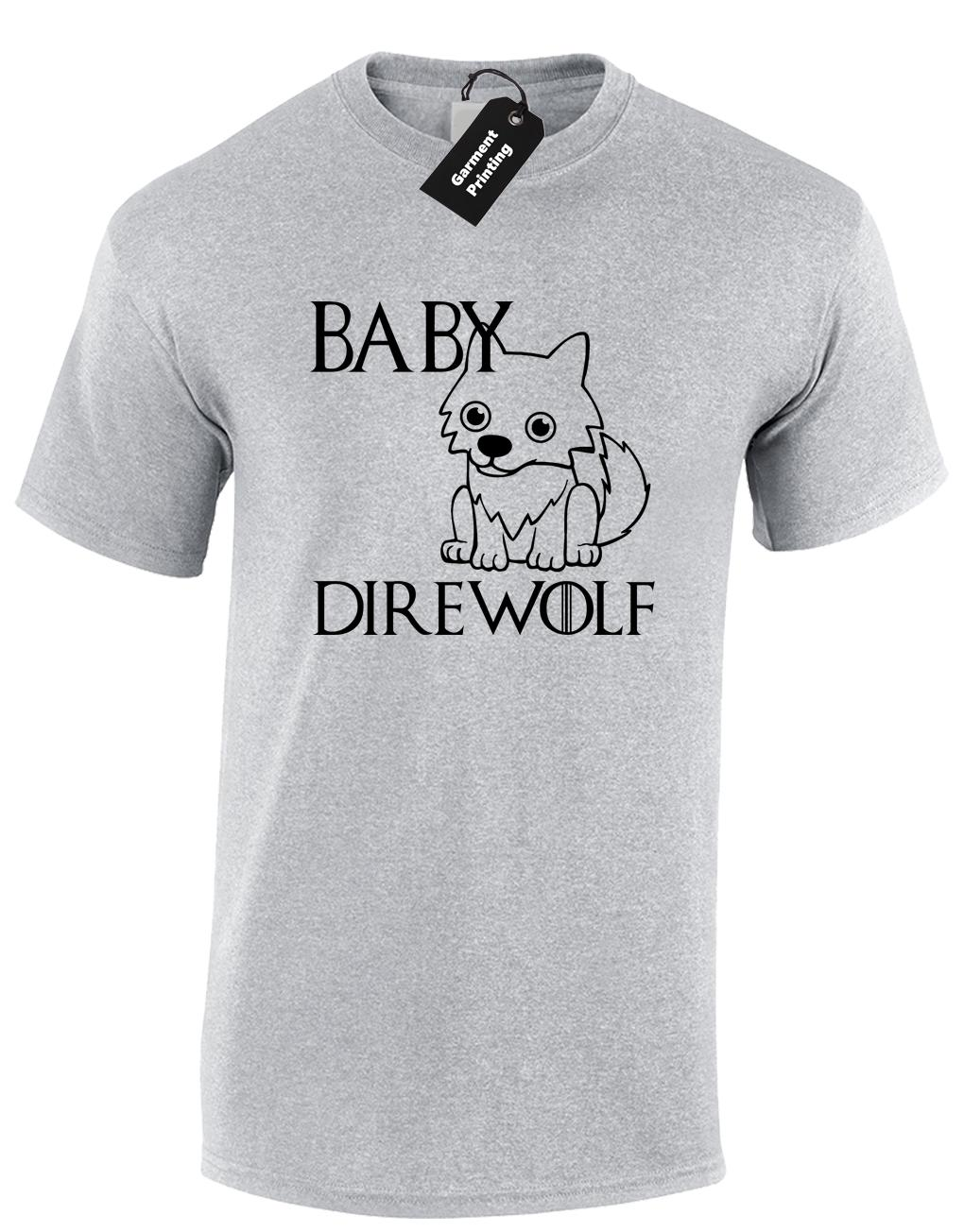 BABY DIREWOLF MENS T-SHIRT GAME OF SNOW KHALEESI JON THRONES KING OF NORTH