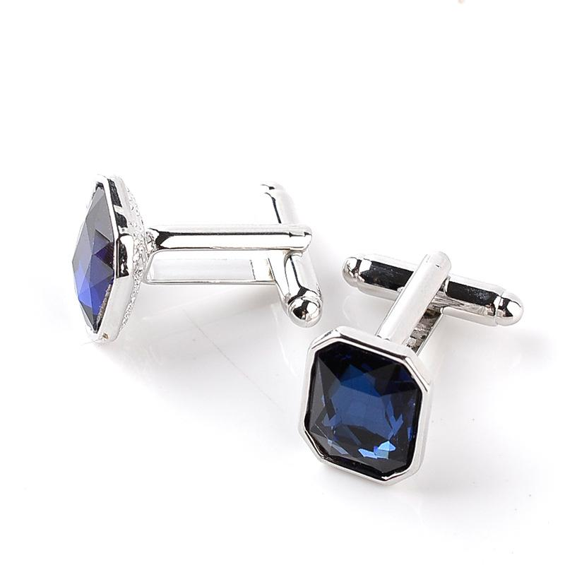 Vintage Classic Men French Shirt Cufflinks High Quality Blue Crystal Luxury Cuff Links Button Wedding Charm Jewelry Gifts