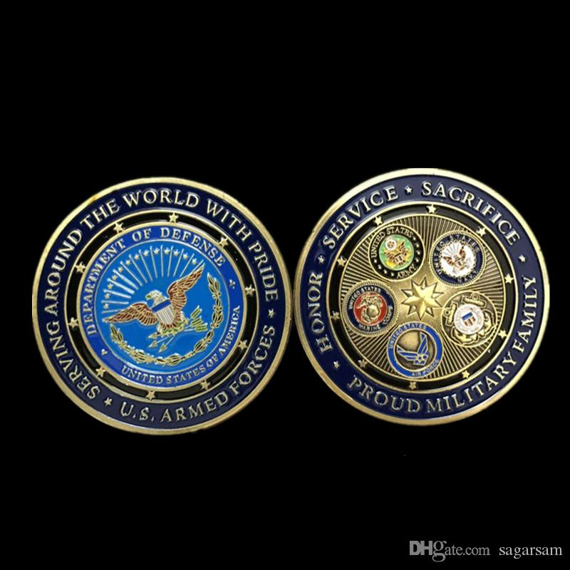 10 pcs Non magnetic The USA military badge 50 mm big size colored souvenir coin gold plated air force medal decoration collectible coin