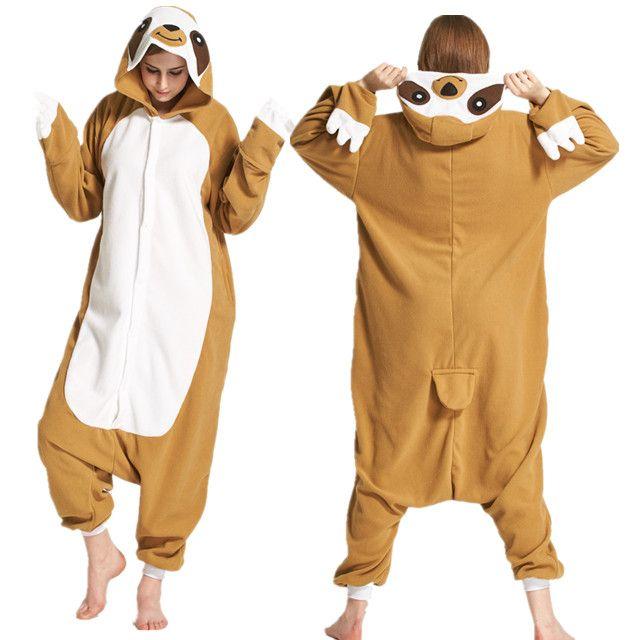 7004877f Novelty Animal Sloth Adults Cartoon Onesie Cos Costume Polar Fleece Cosplay  Costume Pyjamas Halloween Carnival Jumpsuit