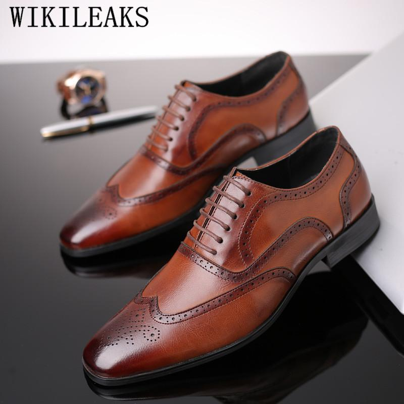 Luxury Formal Brogue Shoes Men Classic Oxford Shoes For Men Coiffeur Brogues Mens Italian Dress Sapato Social Masculino