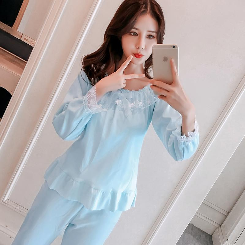 50c6697b123283 2019 Spring Women Pajama Sets Silk Pajamas Lace O Neck Pullover Long Sleeve  Long Pants Women Silk Pajamas Ladies Home Clothing Sets From Qiangweiflo