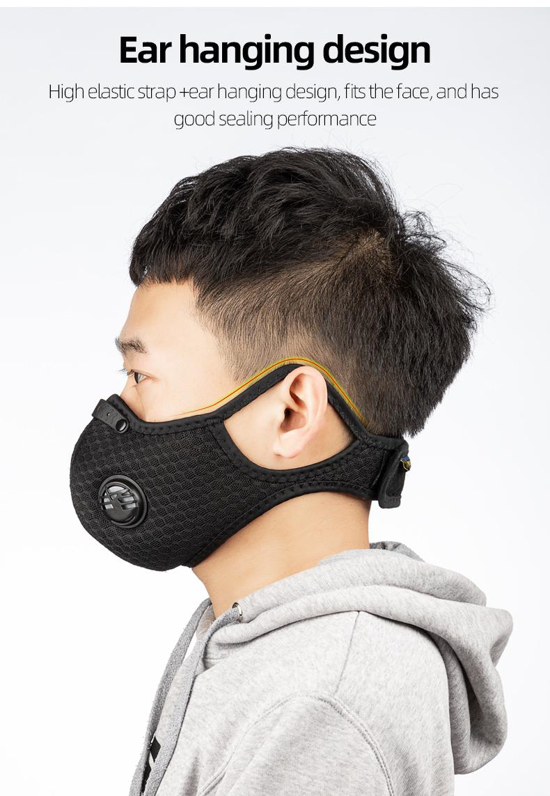 DHL US Stock Cycling Protective Face Masks With Filter Black PM2.5 Anti-Pollution Dust Sports Running Training Road Bike Reusable FY0002