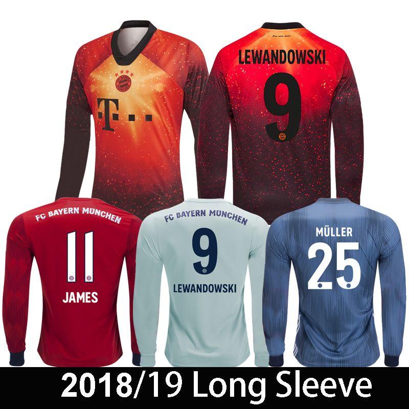 c48585835 2019 Bayern Munich Long Sleeve 2018 2019 EA Sports JAMES RODRIGUEZ  LEWANDOWSKI Soccer Jersey MULLER HUMMELS 18 19 Full Sleeve Football Shirt  From ...