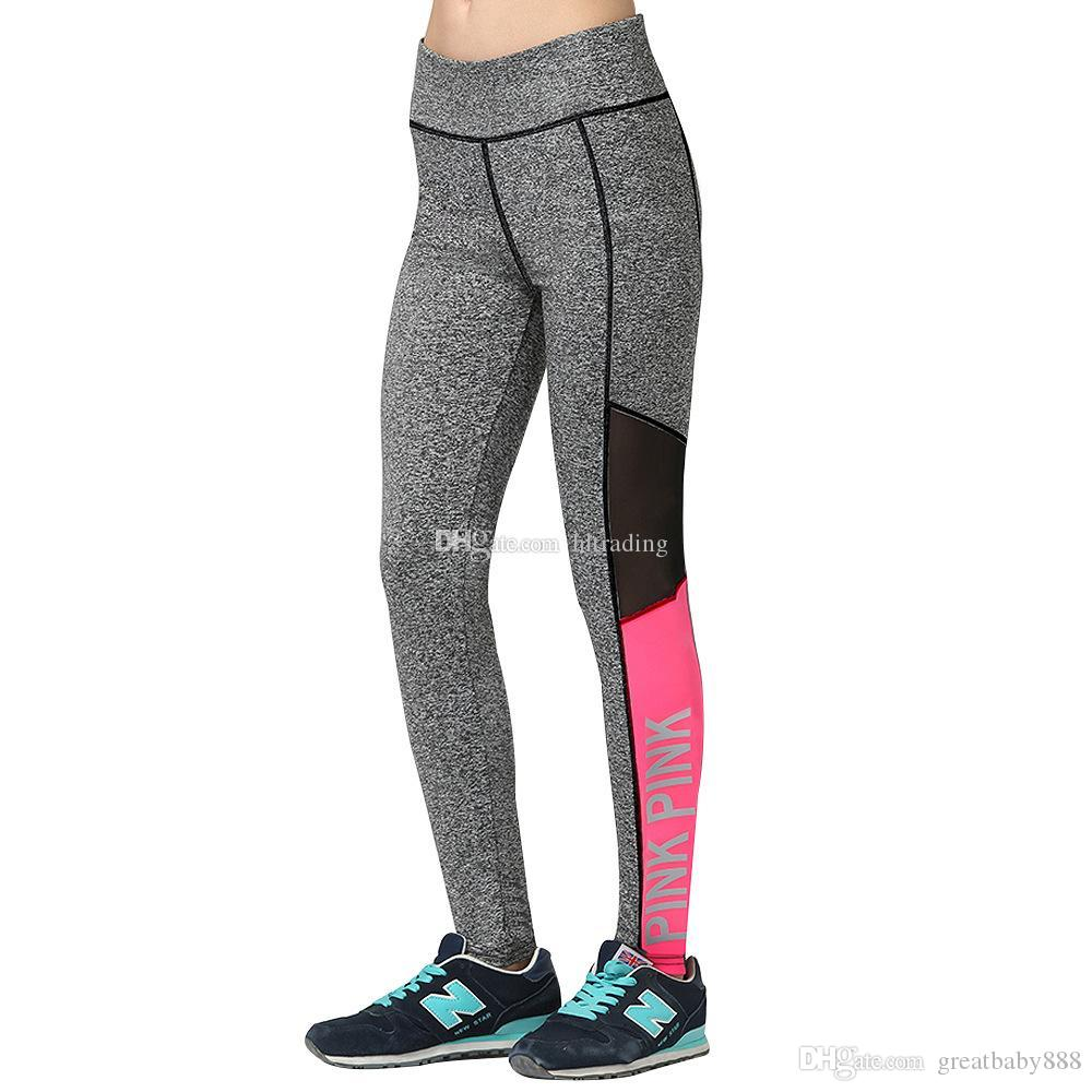 5274965f3e388 2019 Pink Women Sports Leggings Running Fitness Yoga Pants Fashion Letter  Print Trousers Casual Night Running Reflective Tights C5957 From  Greatbaby888, ...