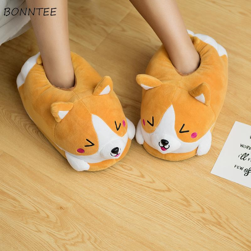8b74515bf465 Winter Slippers Women Lovely Funny Plush Corgi Slipper Ladies Trendy Thick  Soft Home Floor Cotton Shoes Womens Comfortable Flat Mens Shoes Combat  Boots From ...
