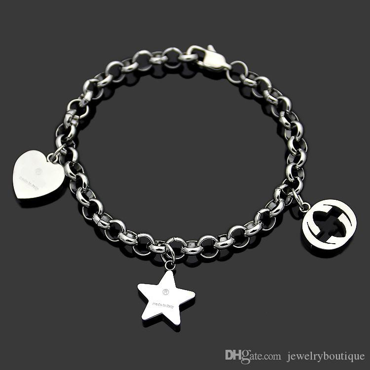 316L Titanium steel Best price Super Cute Heart and star and hollow round pendant of bracelet in 18cm for women wedding gift Jewelry PS5251A