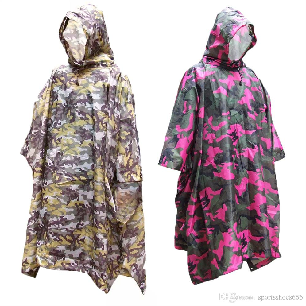 3 In 1 Multifunctional Raincoat Outdoor Travel Rain Poncho Rain Cover Waterproof Tent Awning Camping Hiking Sleeping Bag Sports & Entertainment