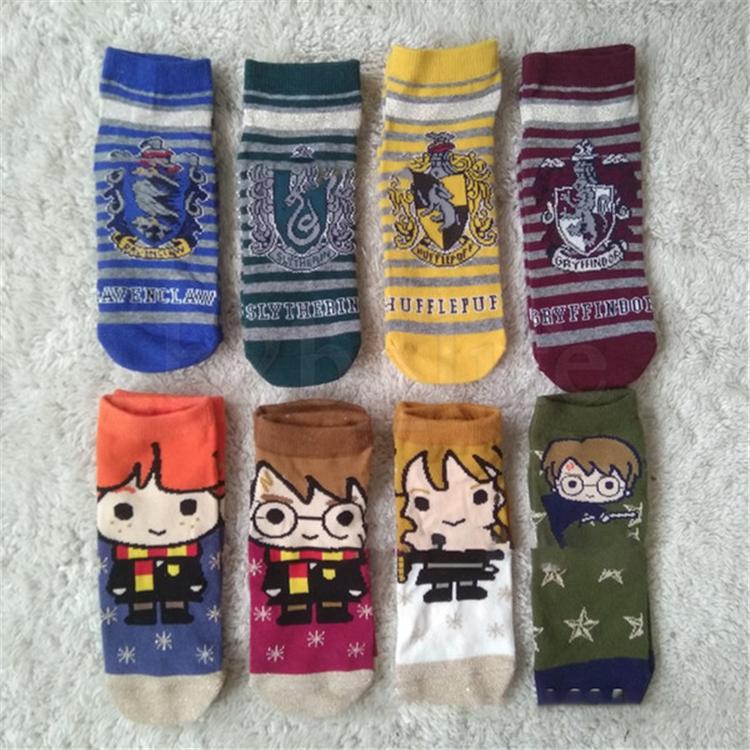 Harry Potter Christmas Gifts.Harry Potter Socks Badge Accessories Cosplay Costume Kids Gryffindor Hufflepuff Slytherin Ravenclaw Socks Christmas Gifts Efj554