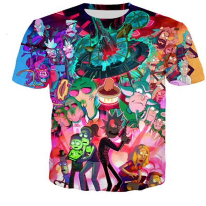 1f77d6c51c0c Новейшая мода ClassicJapan Аниме Рик и Морти футболка 3D принт Мужская /  женская унисекс ...