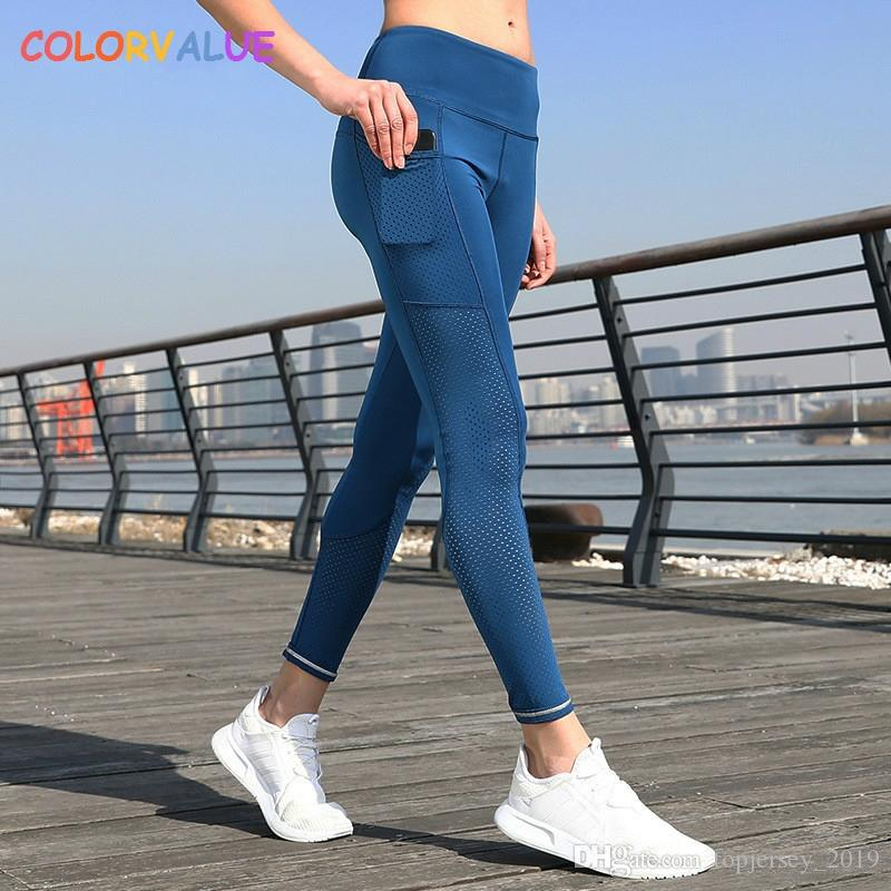 Compre Colorvalue Malla Transpirable Correr Pantalones De Chándal Medias  Mujeres Elásticos Deportes Pantalones De Fitness Yoga Reflectante Gimnasio  Leggings ... 8609efedab8e9