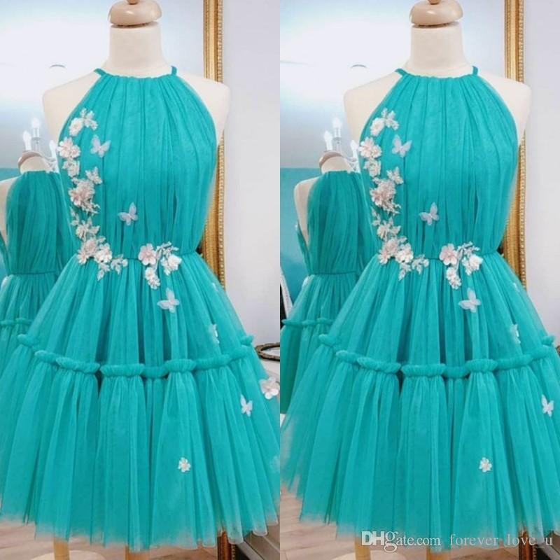 30f14fc05a8 Teal Blue Short Prom Dresses Halter Neck Sleeveless Ruched Pleated Tulle 3D  Floral Appliques Butterfly Embellished Formal Party Gowns Retro Prom Dresses  ...