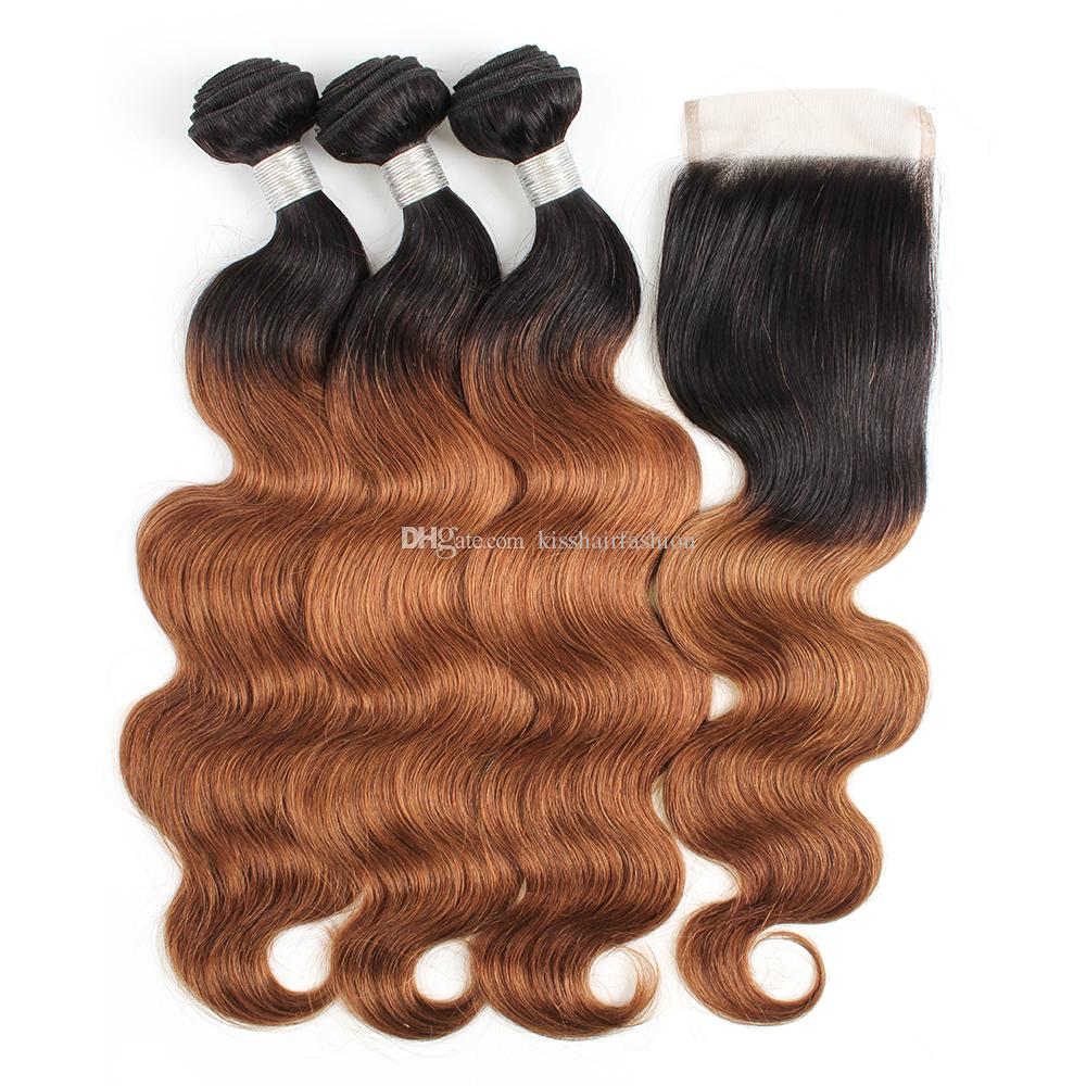 Colored Raw Indian Hair Bundles with Lace Closure Free Middle Part Body  Wave T1B 30 Medium Auburn Ombre Human Hair Weaves