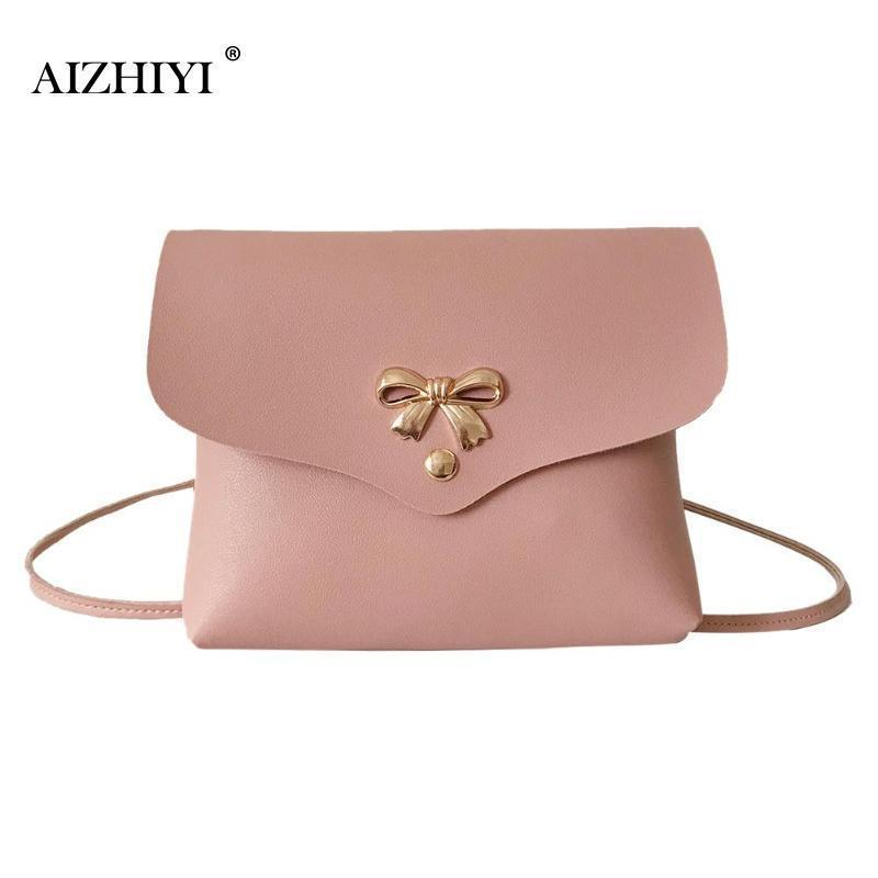 Shoulder Bags Womens Fashion Leather Handbag Solid Heart Bow Handbag Small Shoulder Bags Crossbody Messenger Bags For Girls Bolso Mujer Bag