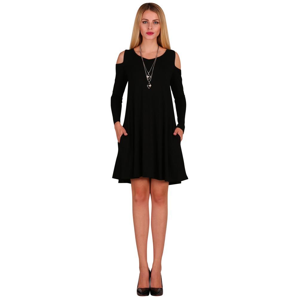 caf8fe53646c Women Long Sleeve Casual Loose Swing T Shirt Dress Off Shoulder Tunic  Pockets Mini Dress Black White Grey Green Burgundy Blue Halter Dresses Dress  Shopping ...