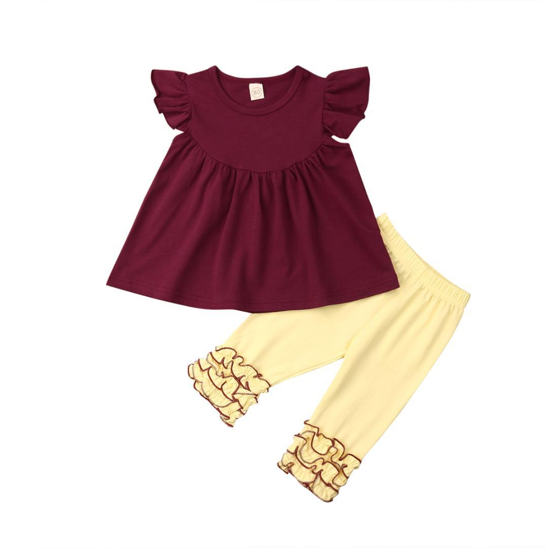 7e66a58e399b8 2019 2019 Summer Kids Baby Girls Outfits Fly Sleeve Red Tops+Ruffle Yellow Icing  Pants Casual Clothes 6M 4Y From Babymom, $42.86 | DHgate.Com