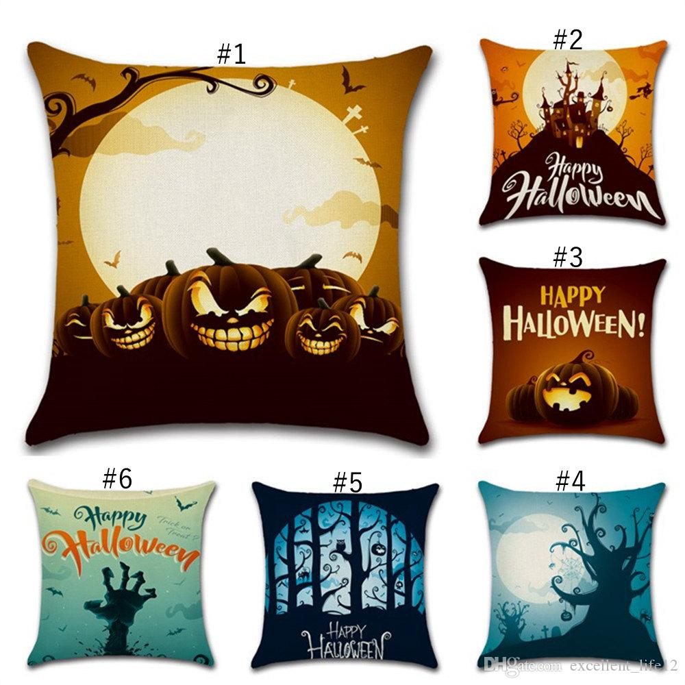 Happy Halloween Throw Pillow Case Owls Pumpkin PAttern Sofa Linen Cushion Cover Home Decorative Pillow Covers Bedding 45*45CM