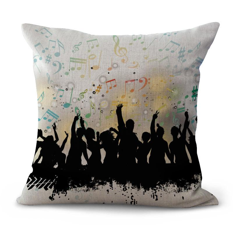Musical Instruments Note Violin Pillow Case Cushion cover linen cotton Square Throw Pillow case Cover home decor Drop Ship 300762