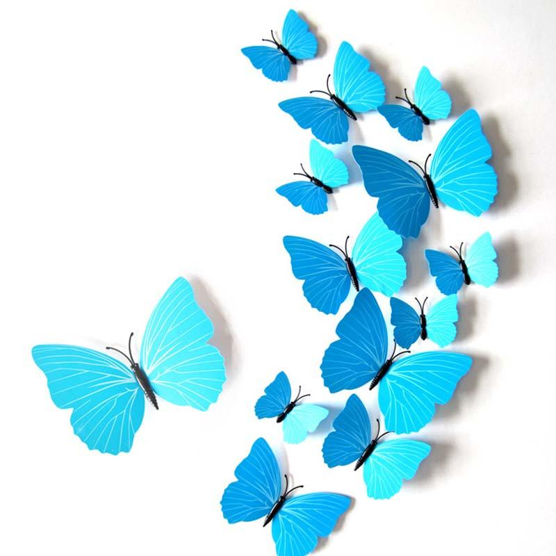 Kid Room TV Refrigerator Sticker Home Decor PVC Butterfly 3D DIY Waterproof Wall Stickers Decals White Black Blue Rose-red