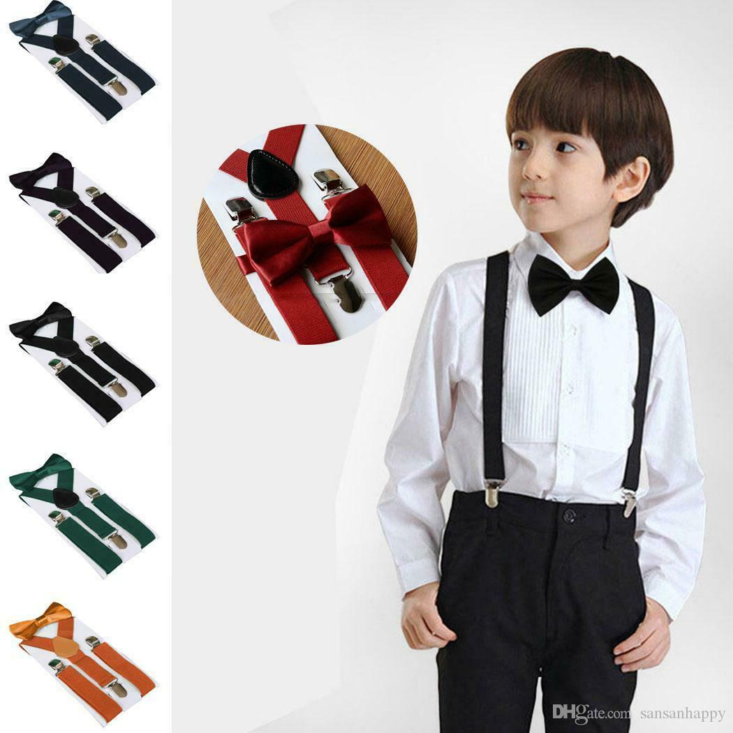 42 colors New Children Kids Boy Girls Clip-on Y Back Elastic Suspenders with Bow Tie Set Adjustable Braces gift