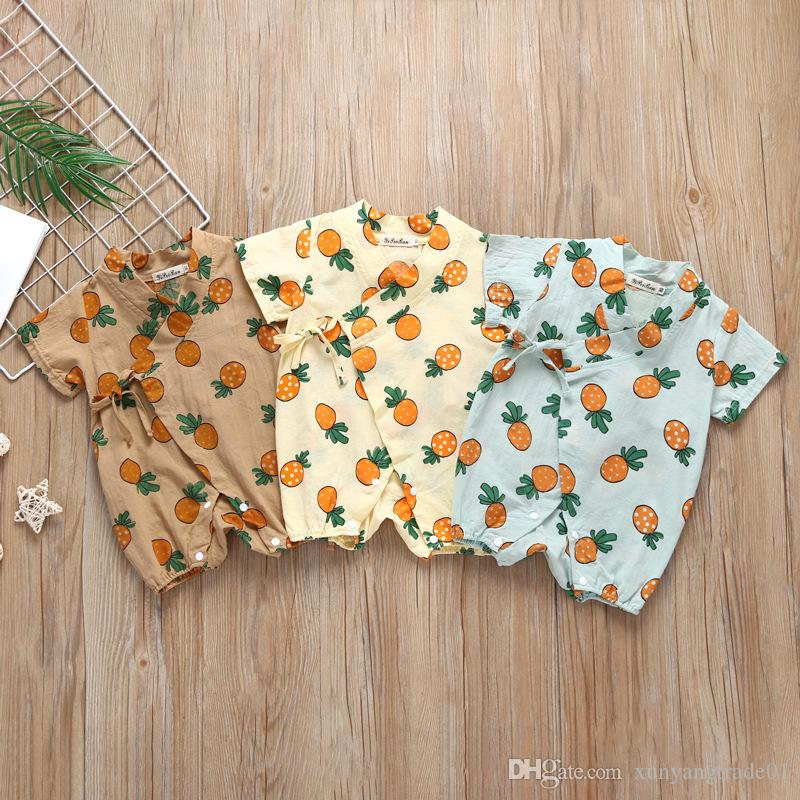d674c90671f 2019 Baby Romper INS Boys Girls Coveralls Gowns Cartoon Fruit Pineapple  Printed Pattern Infant Newborn Romper Jumpsuits Kids Clothing Q55 From ...