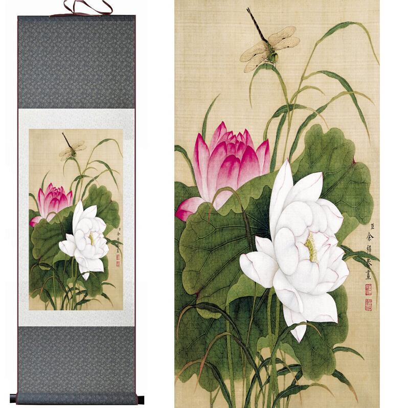 Lotus Flower Painting Home Office Decoration Chinese Scroll Paintingprinted Painting