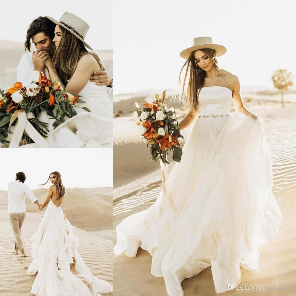 2019 Strapless Tiered Layers Tulle A Line Boho Wedding Dresses With Crystal Sash Sexy Backless Beach Garden Bridal Gowns Vestidos De Novia