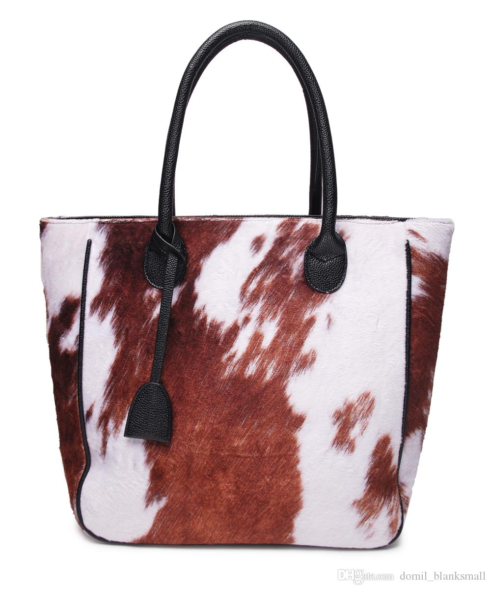 Luxury Ladies Medium Tan COW Fur Real Cow Hide Leather Weekend Holdall Bag