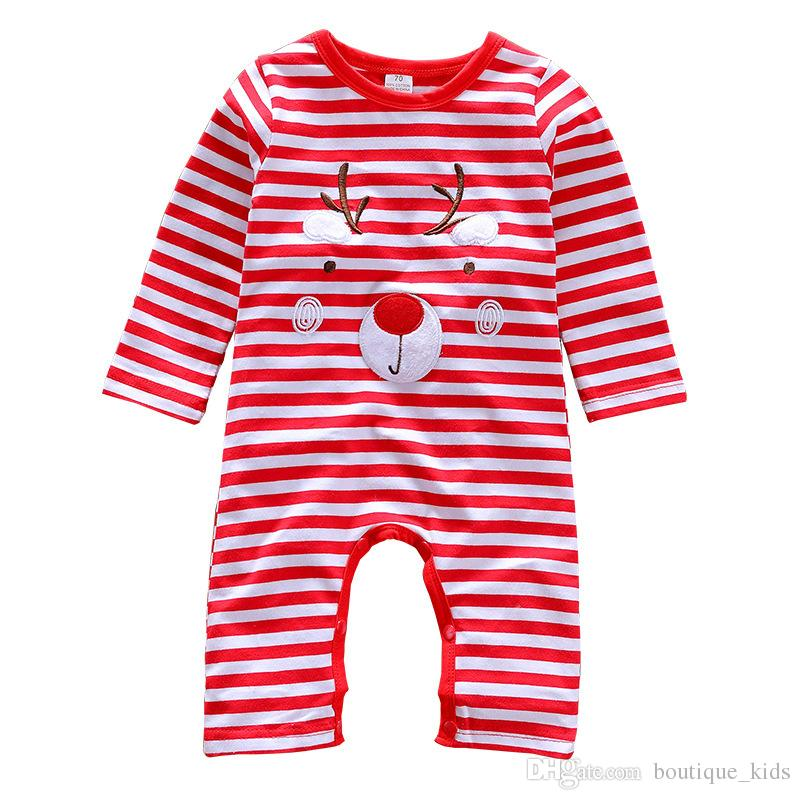 725df02e9b61 2019 Christmas Baby Jumpsuit Romper Cotton Newborn Baby Boy Girl Clothes  Deer Striped Outfits Baby Kids Clothing Infant Toddler Boutique Clothing  From ...