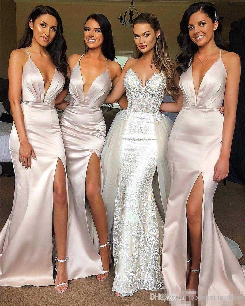 Simple Mermaid Bridesmaid Dresses For Wedding Sexy Halter Side Split V Neck Backless Long Maid Of Honor Gown Cheap