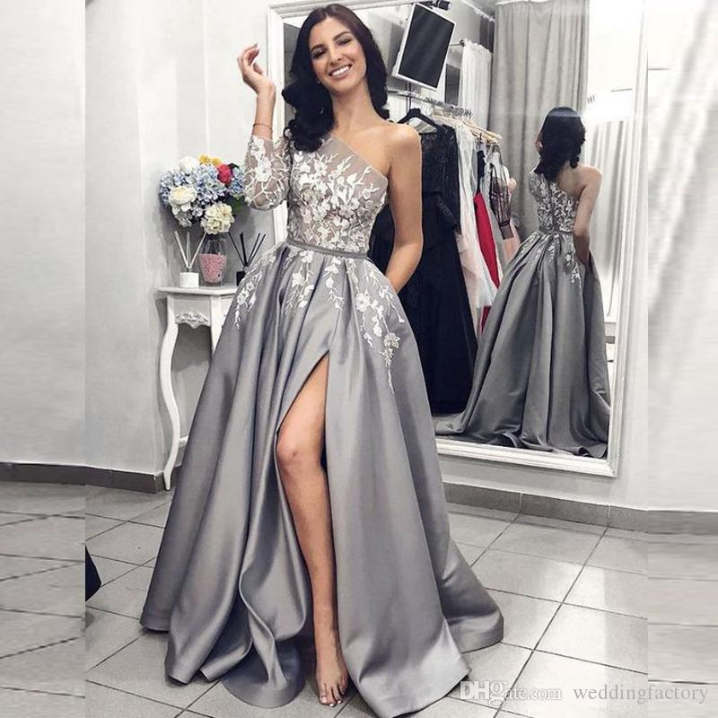 ca70a3c8ed5 Stunning 2019 Grey Prom Dresses One Shoulder Single Sleeve Lace Appliques  Grey Satin Long Formal Evening Party Gowns with High Split