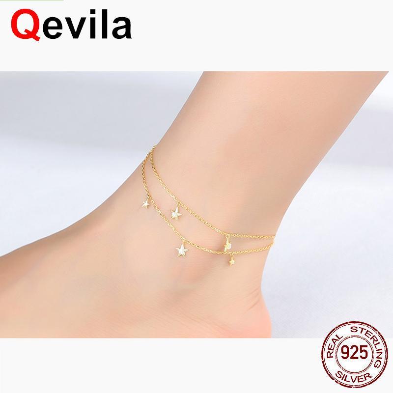 3f8c9390056 2019 Qevila Fine Jewelry 100% 925 Sterling Silver Summer Ankle Bracelet  Gold Anklet Elegant Star Foot Leg Chain Charm For Women Gift From  Fragmentt, ...