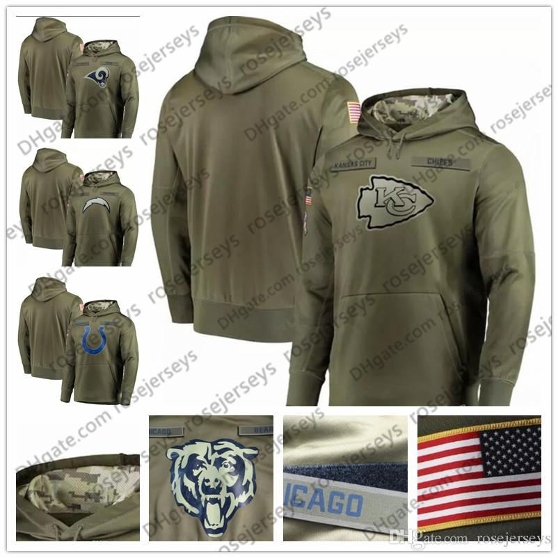 newest 04fef b0558 Los Angeles Indianapolis Chargers Kansas City Rams Chiefs Olive Sweatshirt  2018 Salute to Service Pullover Hoodie Men Women Kid Youth
