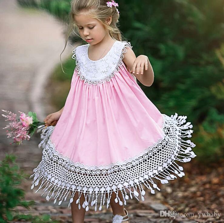 Summer Baby Girl Crochet Lace Ins Dress Princess Hallow Out Party Dress  Sleeveless Pink Vest Dress Kids Clothing