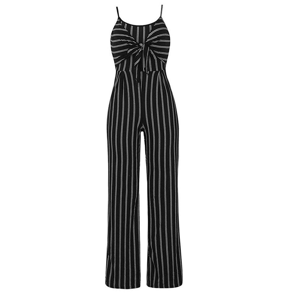 9cdc01513 2019 Bowknot Striped Wide Leg Summer High Waist Sleeveless Party Women  Jumpsuit Polyester Casual Slim Shopping Sexy Spaghetti Strap From Caicloth