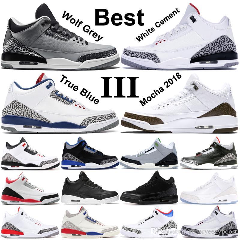 tout neuf f1846 2a285 Real Shot Nike Air Jordan 3 Wolf Gris Chaussure De Basket-ball Hommes Rouge  Feu Noir Chat Blanc Ciment Infrarouge Sport Vrai Bleu Hommes Sneakers ...