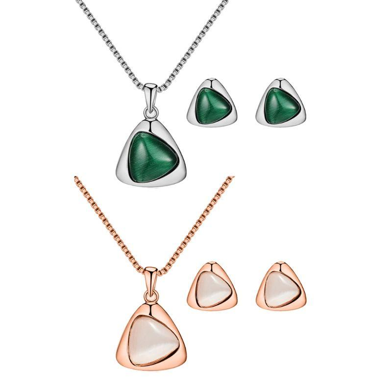 Elegant Austrian Crystal Necklace Earrings Cat Eye Stone Jewelry Sets For Women