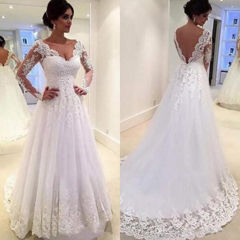 3926504701291 Deep V Neck Long Sleeve A-line Wedding Dresses Vintage Lace Appliques  Backless Custom Made Top Quality Arabic Bridal Gown Sweep Train Wedding  Dress A-line ...