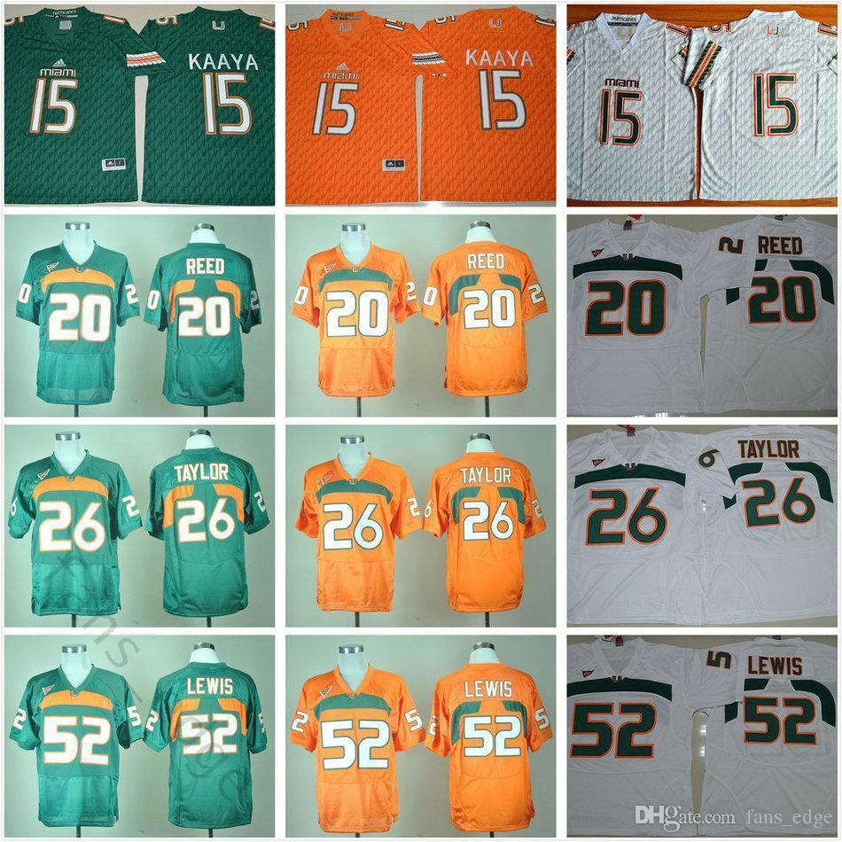timeless design 2de51 69878 Ncaa Miami Hurricanes Football Jerseys College 20 Reed 15 Brad Kaaya 26  Sean Taylor 52 Ray Lewis Stitched Jersey Green Orange White