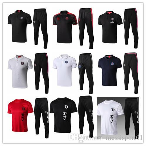 Psg polo shirt long pants 2018 2019 psg aJ soccer Tracksuit paris saint germain MBAPPE chandal futbol air jorDAM jogging kits soccer set