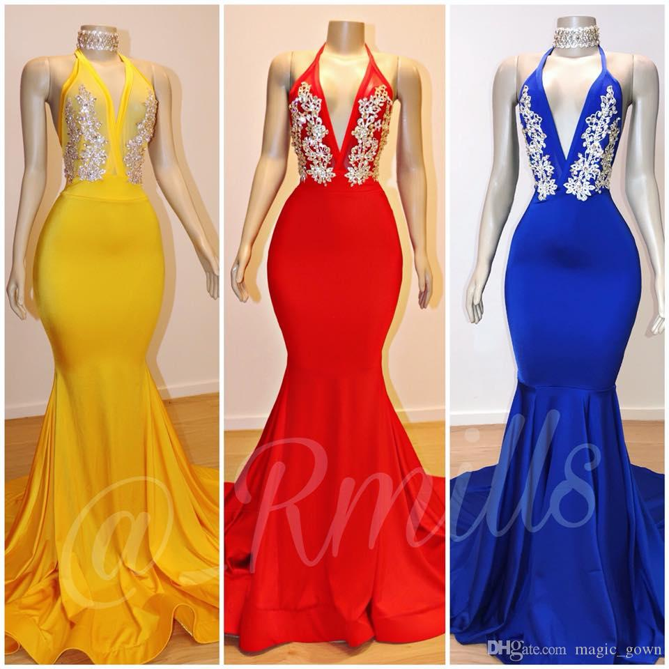 2019 Yellow Red Royal Blue Mermaid Evening Dresses Halter V Neck Lace Applique Backless Formal Dresses Evening Gowns Elegant yousef aljasm