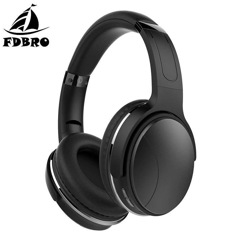 FDBRO Bluetooth HiFi Stereo Earphone Active Noise Cancelling Wireless Bluetooth Headphones Foldable Headset with Mic For Phone