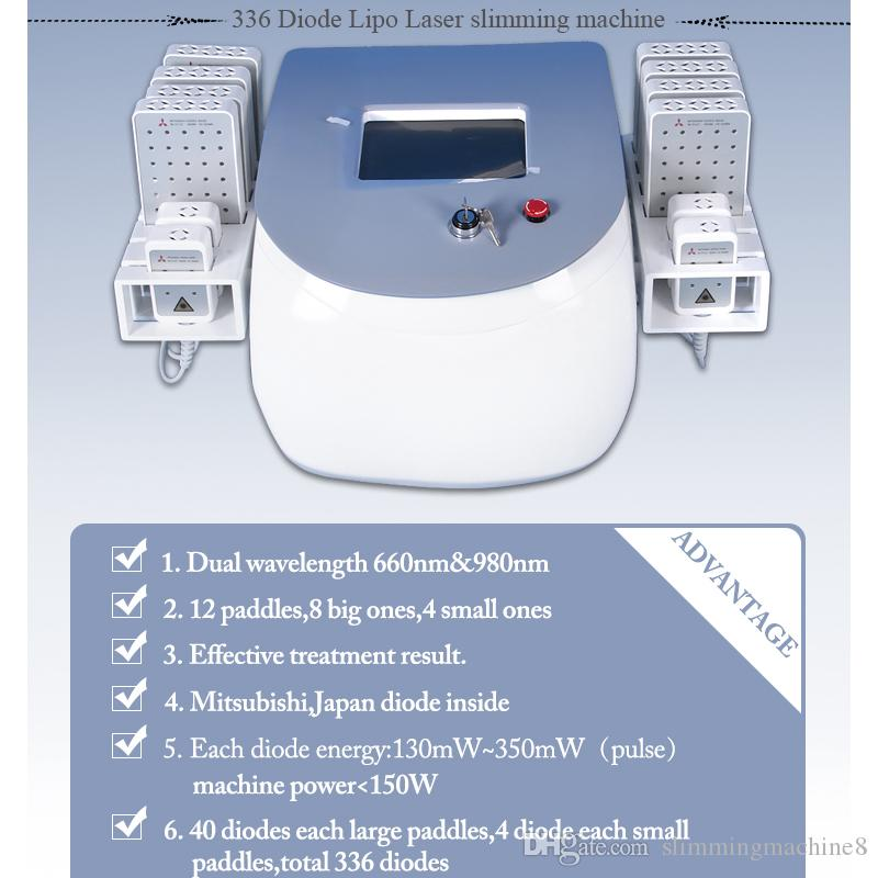 lipo laser lipolaser weight loss machine 12 Pads laser slimming 336 diodes body fat loss machine for sale