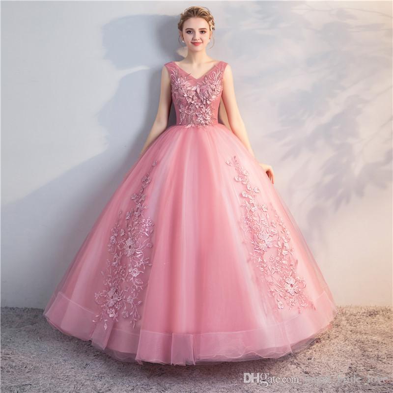 2018 New Princess Appliques V-Neck Ball Gown Quinceanera Dresses ... 4d0c5cc582e3