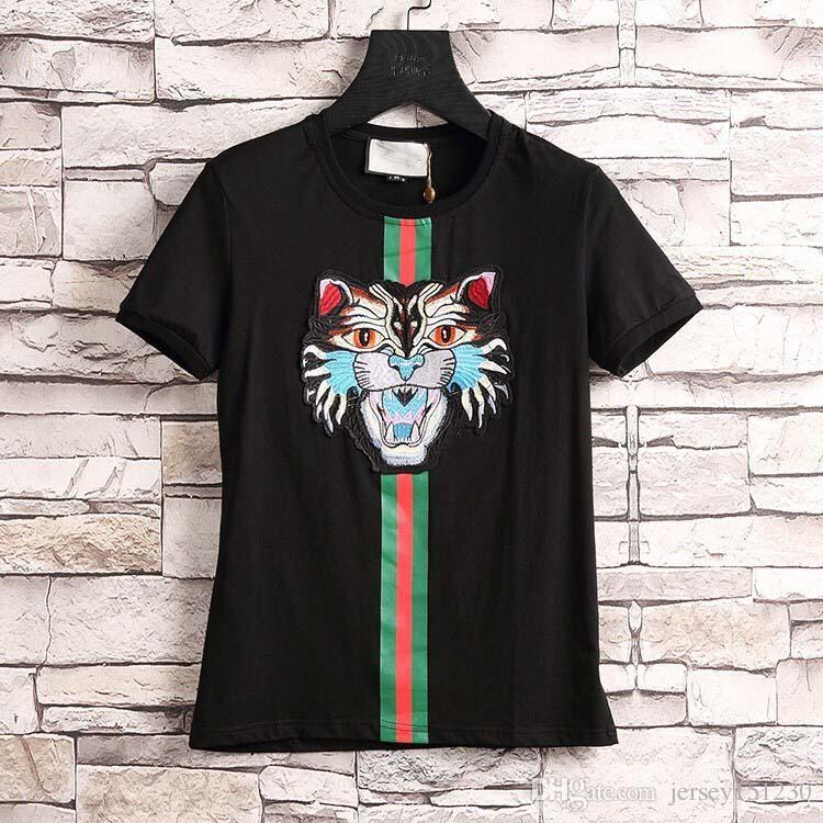 24813ebae02f New 2019 Fashion Men Women Tops Tiger Head Letter Print Embroidery T Shirt  Cotton Short Sleeve Tshirt Women Men Tops M 3XL Tee Shirts For Sale Random T  ...