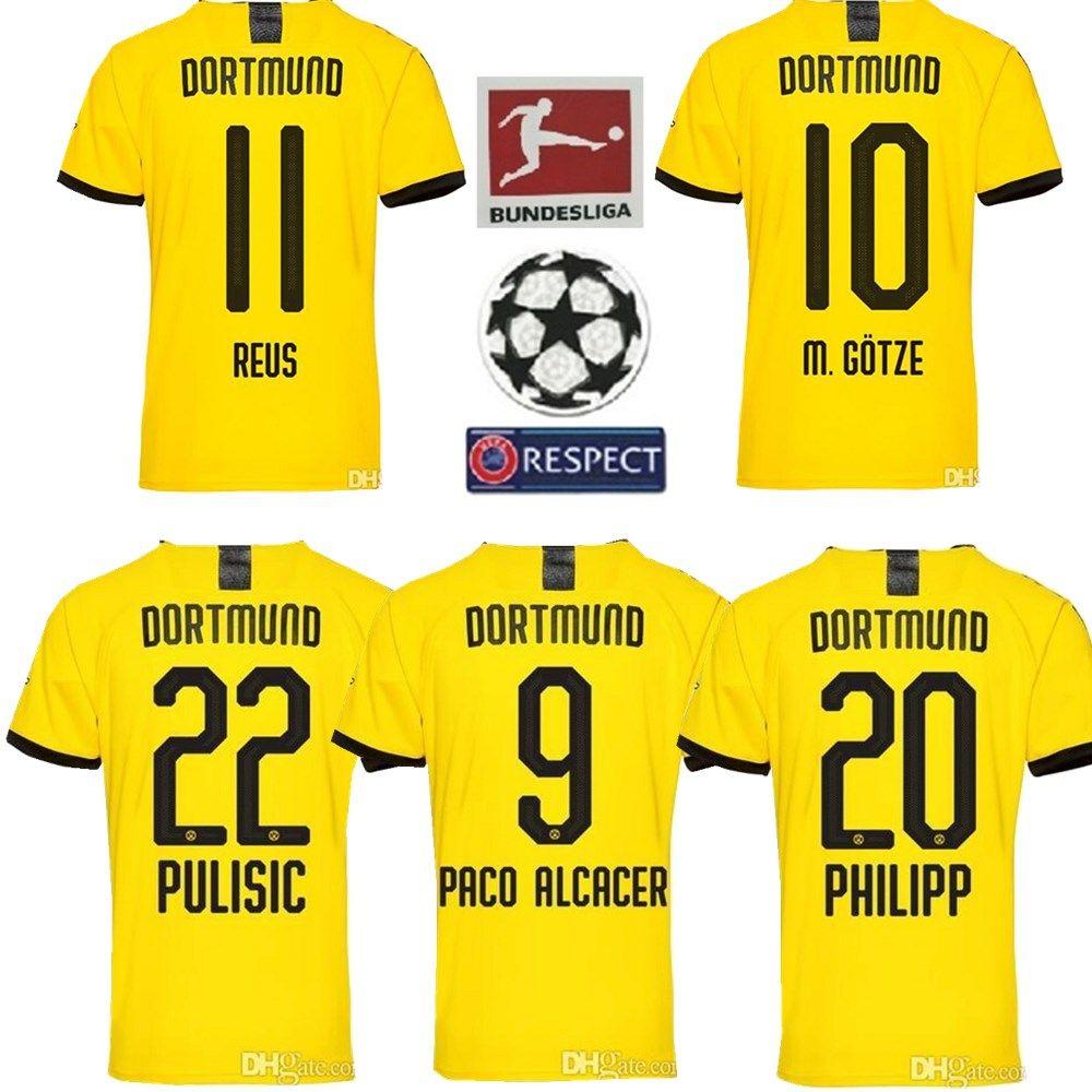 outlet store e8116 14088 2019 2020 Borussia Dortmund soccer jerseys 19 20 SANCHO AUBAMEYANG GOTZE  KAGAWA PULISIC REUS Dort football shirt uniform